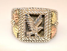 MENS STERLING SILVER ONYX RING EAGLE & 12K GREEN & ROSE GOLD LEAVES SIZE 13.75
