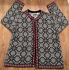 LL Bean Ski Winter Sweater Nordic Cardigan Snowflake Size 2X Hong Kong FREE SHIP