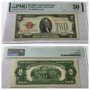 VINTAGE pmg 1928-G STAR $2 UNITED STATES NOTE TWO DOLLAR BILL 30 LEGAL TENDER