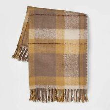 "60""x50"" Faux Mohair Plaid Throw Blanket  Threshold Gold New"