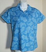 Antigua Women's Desert Dry Golf Collared Paisley Print Shirt Size M NWOT