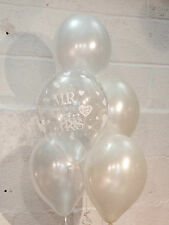 30 Mr & Mrs Pearlised Balloons, Ivory & White Wedding (Helium Quality)