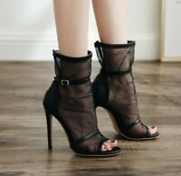Women's Summer Peep Toe Shoes Sexy Mesh High Stiletto Heels Sandals Ankle Boots