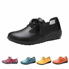 A Women's four seasons leather lacing flat non slip casual leisure working shoes