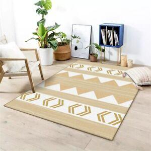 Light Brown Geometric Pattern Carpets Non-Slip Bedroom Decor Carpet  Area Rugs