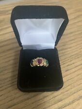 14K Solid Yellow Gold Ring Oval Cabochon Ruby,  Emerald, Sapphire