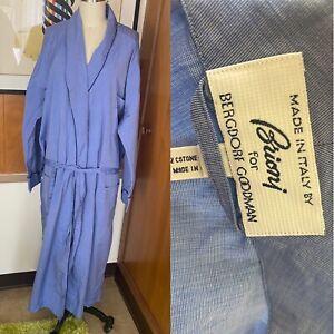 BRIONI for Bergdorf Goodman Men's ROBE Sz L blue white Lounge Robe