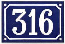 Blue French house number 316 door gate plate plaque enamel steel metal sign