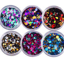 6 box Nail Sequins Glitters UV Gel Ultrathin Stickers Manicure Black Red Mix