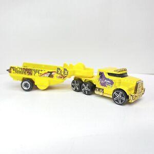 Hot Wheels City Rumble Road Stunt Team #7 Semi Truck With Trailer Hauler 2013
