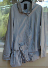 RUNDHOLZ 100% COTTON GREY LONG SLEEVE BUTTON FRONT TOP~SZ SMALL