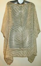 Michael Kors Blouse Top Cream & Tan Sheer Zebra Print Beach Cover Up one size