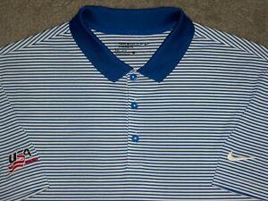 Men's NWOT NIKE GOLF Dri-Fit STANDARD Polo L WHITE w/Stripes w/USA HOCKEY
