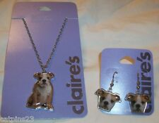 Claire's BULLDOG PUPPY Dog NECKLACE EARRINGS Set2 LOT Pierced For Sensitive Ears