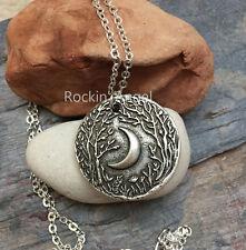 925 Argento Anticato PLT Woodland Collana con pendente luna PAGAN WICCA CELTIC Norreno
