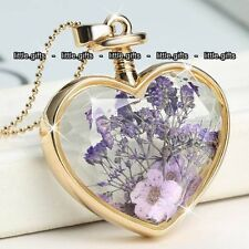 Purple Flower & Gold Heart Pendant Necklace - Valentine Gifts For Her Wife Women