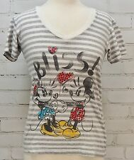 MICKEY & MINNIE MOUSE Short Sleeve Knit T-Shirt Top BLISS Womens XS Disney Store