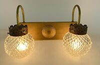 Vtg Gold Diamond Glass Bathroom Vanity Wall Double Light Fixture Hollywood MCM