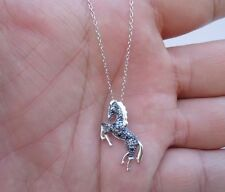 925 STERLING SILVER DESIGNERS HORSE  PENDANT NECKLACE W/ BLACK DIAMONDS/ 18''