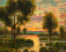 MAX COLE art oil painting landscape signed old vintage antique dutch moon 32700