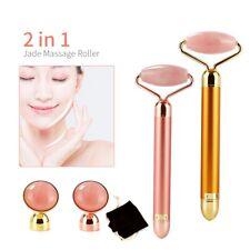 2 in 1 Electric Natural Quartz Facial Jade Roller Face Massager Beauty Tool Set