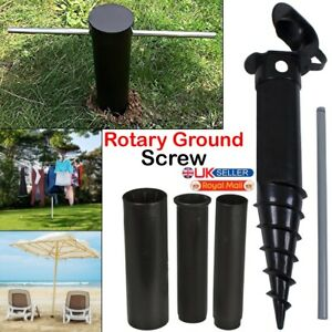 Heavy Duty Screw Spike in Ground Parasol Soil Pulley Rotary Airer Whirly Washing