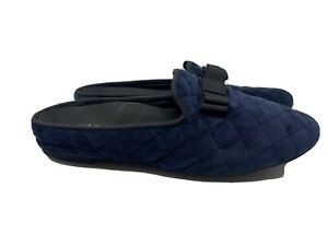 Vionic Womens Snug Eloise Mule Slippers Blue Quilted Bow Slip On 6.5