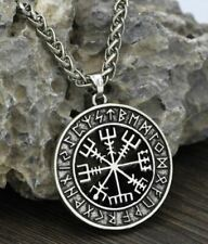 New Mens Norse Viking Rune Vegvisir Compass Pendant Necklace Stainless Steel