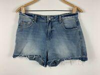 Milk And Honey Womens Blue Denim Jean Shorts Size 10 Distressed Raw Wash