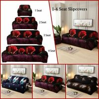 1/2/3 Seater Stretch Chair Sofa Covers Couch Elastic Slipcover Protector Flower