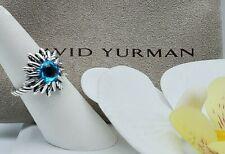 David Yurman Sterling Silver blue Topaz Starburst ring size  5.5