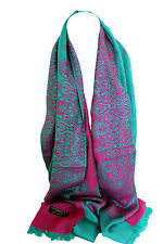 Turquoise & Hot Pink Two Sided Self Embossed Pashmina Feel Wrap Scarf Shawl