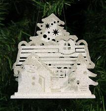 PLATINUM & IRIDESCENT WHITE GLITTERED 3-D SNOWMAN COTTAGE CHRISTMAS ORNAMENT