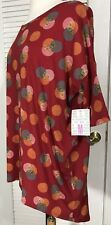 LuLaRoe Irma High-Low Tunic Top Women's M Red Geometric Circles NWD small spot