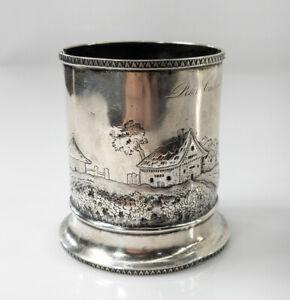 Antique Rare Coin Silver Christening Mug Cup by Leonard & Wilson Philadelphia
