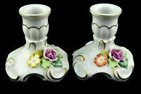 🌹🌹VON SCHIERHOLZ Dresden Porcelain 2 Candle Holders Flowers Germany Vintage