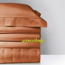 "New Yves Delorme Triomphe Caramel 18"" Fitted Sheet 75x85 100% Cotton Sateen $345"