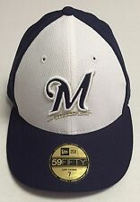 Milwaukee Brewers Fitted Hat Size 7 New Era Baseball Cap MLB Low Crown 59Fifty