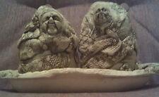 Zaharis Carved Clay 3 Piece Folk Art Salt Pepper Shaker Unique Old Ugly Man & Wm