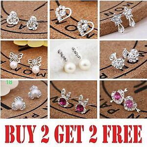 925 Sterling Silver Stud Earrings Rhinestone Crystal Womens Girls Gift Earring