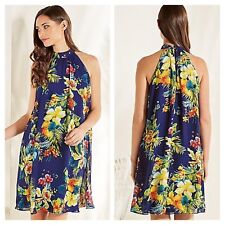 Look Again Size 12 Hawaiian Tropics Floral Chiffon Babydoll DRESS Summer £50