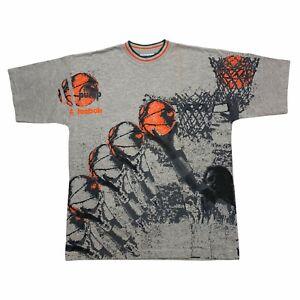 Reebok The Pump All Over Print Basketball Tshirt   Vintage 90s Sports Grey VTG