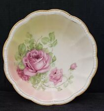 Crescent China K Round Bowl Trimmed In Gold With Pink Roses #4289 Scalloped Edge