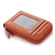 Men Wallet Leather Credit Card Holder RFID Blocking Zipper Thin Pocket ID Window