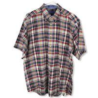 Pendelton Mens Large Seaside Shirt Cotton  Plaid Button Up Short SleeveShirt