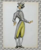 Drawing Watercolour Theatre Costume Noble 1st Empire Consulate B. Duquesnoy