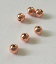 100 Copper round spacer beads, metal beads 4mm smooth  finding 100 pieces
