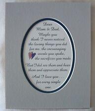 Appreciate U MOM & DAD Sacrificed Encouraged Loving NOTICED verses poems plaques
