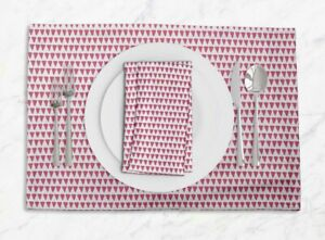S4Sassy Stripe & Triangle Geometric Printed Tablemats With Napkins set-GMD-606H