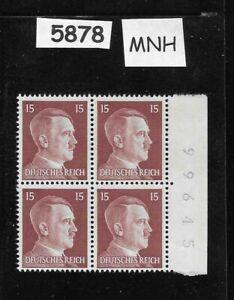 #5878   MNH Hitler stamp block / 1941 PF15 / Original Third Reich Germany Block